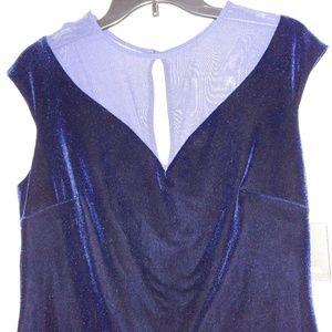 Blue velvet bodycon dress size 14 by Marina. NWT